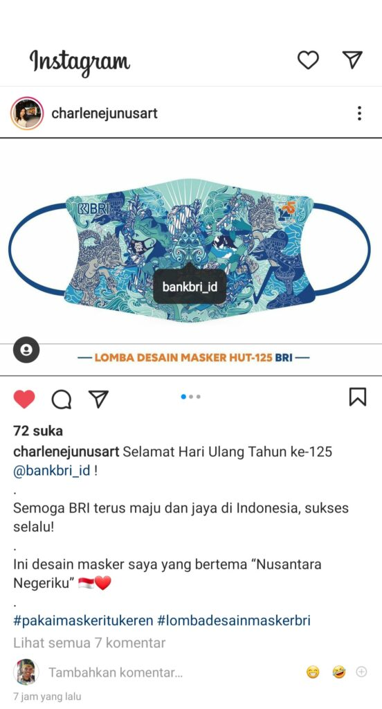 Charlene Junus Ikut Lomba Desain Masker BRI | www.patadaily.id